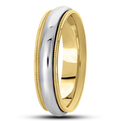 Two Tone Domed Milligrain Wedding Band