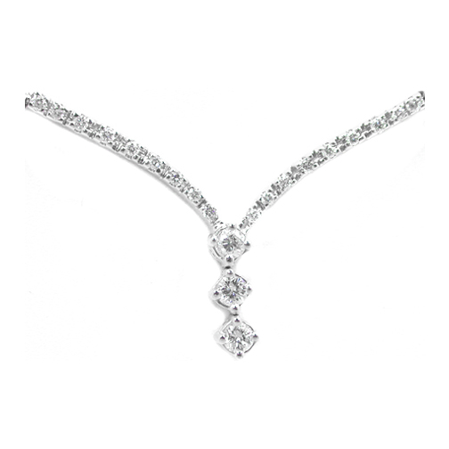 3 Stone Round Diamond Necklace 0.62 tcw.