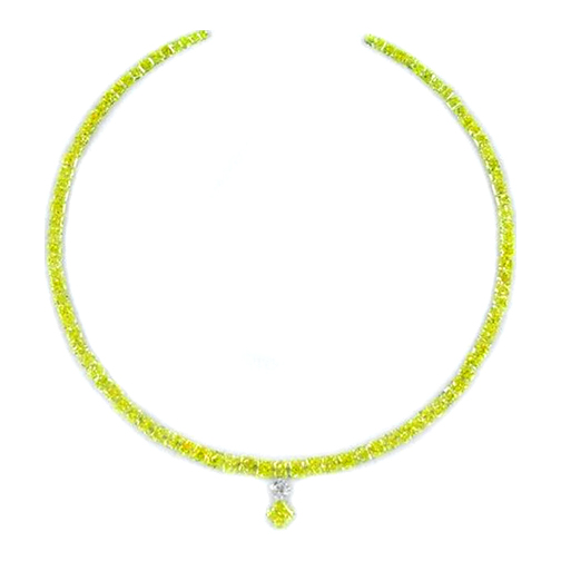 Fancy Intense Yellow Graduated Diamond Tennis Necklace 47.18 tcw.