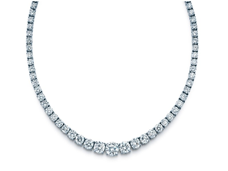 Eternity Graduated Diamond Necklace in 14k White Gold 13 tcw.