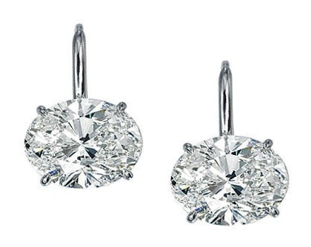 One of A Kind Oval Diamond Stud Earrings D, Flawless 2.03 tcw. Signature Ideal Cut