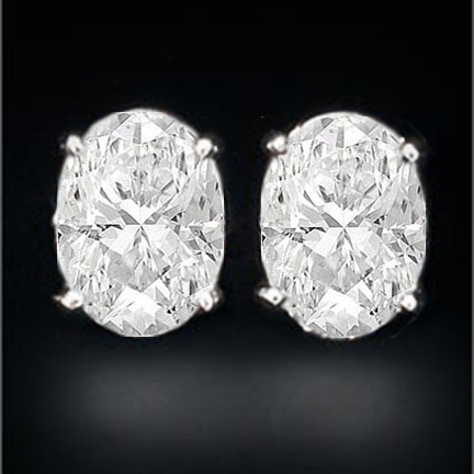 Oval Diamond Stud Earrings H VS1 1.01 tcw. In 14 Karat White Gold