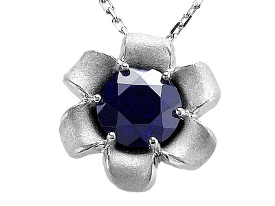 Flower Pendant With Blue Sapphire