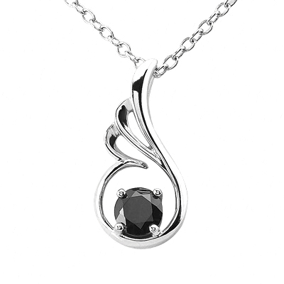 Swirl Pendant With Black Diamond In the center