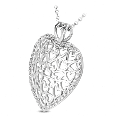 Heart Shape Pendant With Diamond Accents