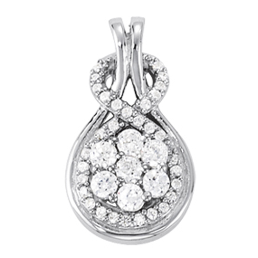 Cluster Floral Halo Love Knot Diamond Pendant