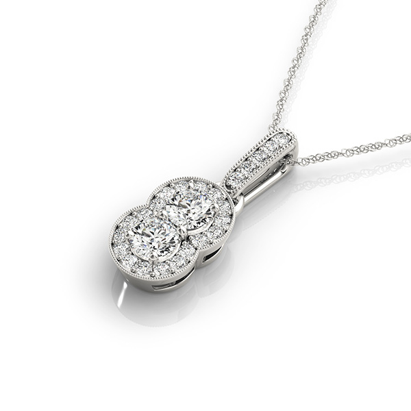 Vintage Duo Diamond Halo Pendant,