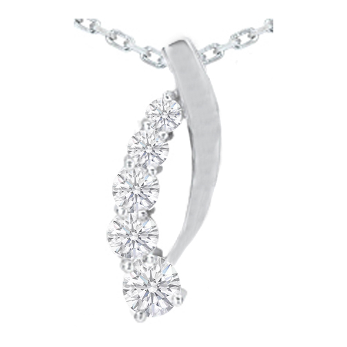Curved Journey - 5 Diamond Drop Pendant in 14 Karat White Gold (1.47 tcw.)