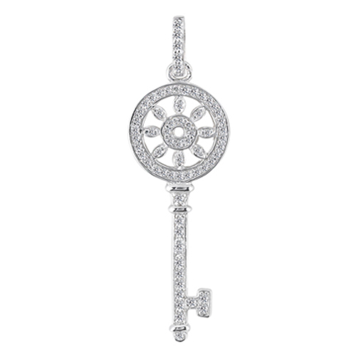 Kaleidoscope Diamond Key Pendant 0.60 tcw. In 14 Karat White Gold