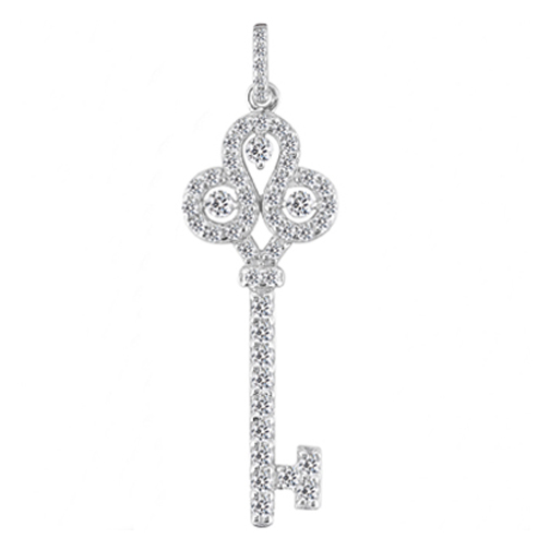 Fleur-de-lis Diamond Key Pendant 1.05 tcw. In 14 Karat White Gold