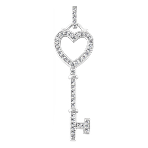 Heart Diamond Key Pendant 0.25 tcw. In 14K White Gold