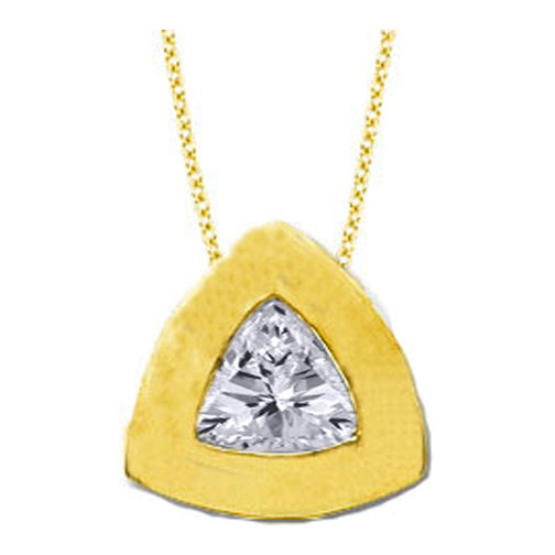 Solitaire Trillion Diamond Pendant 0.20 carat In 14 Karat Yellow Gold
