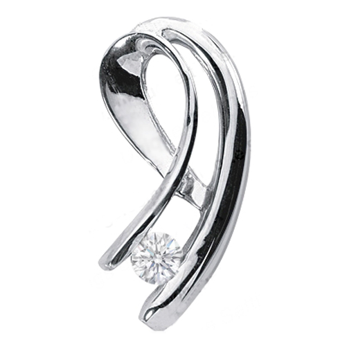 Swirl Solitaire Round Diamond Pendant 0.35 Carat in 14 Karat White Gold