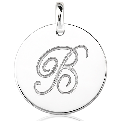 Script Round Disc Initial B Engraved in a 14 Karat White Gold Pendant