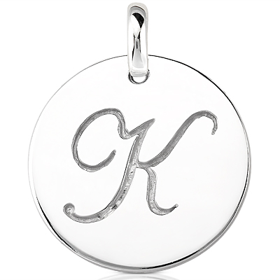 Script Round Disc Initial K Engraved in a 14 Karat White Gold Pendant