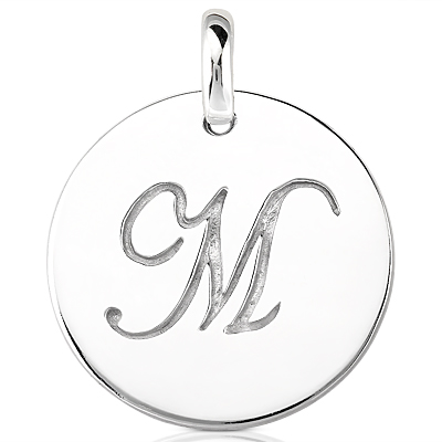Script Round Disc Initial M Engraved in a 14 Karat White Gold Pendant