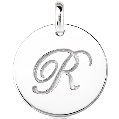 Script Round Disc Initial R Engraved in a 14 Karat White Gold Pendant