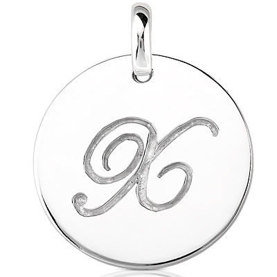 Script Round Disc Initial X Engraved in a 14 Karat White Gold Pendant