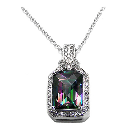Emerald Cut Mystic Topaz Pendant & Round Diamonds 5.42 tcw. In Platinum