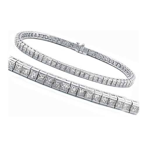 Princess Diamond Tennis Bracelet Four (4.30) Carat F-G VS