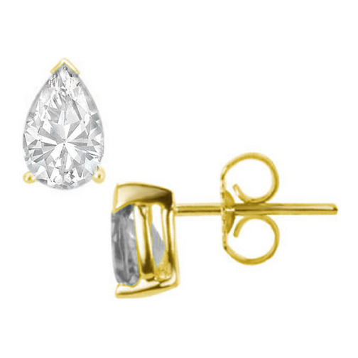 One Of A Kind Pear Shaped Diamond Stud Earrings 1.60 tcw. D IF in 14 Karat Yellow Gold