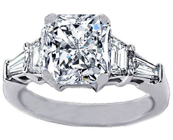 Radiant Cut Diamond Engagement Ring trapezoids and baguettes 0.60 tcw.
