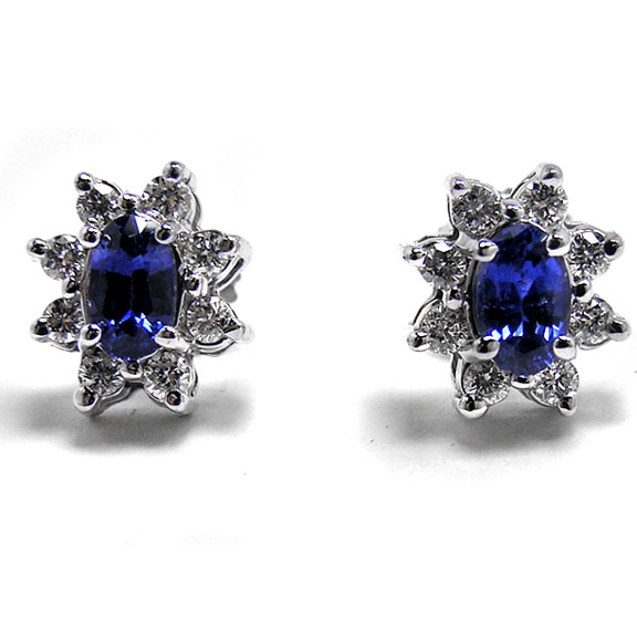 Princess Diana Oval Sapphire and Round Diamonds Flower Diamond Stud Earrings 1.00 tcw.