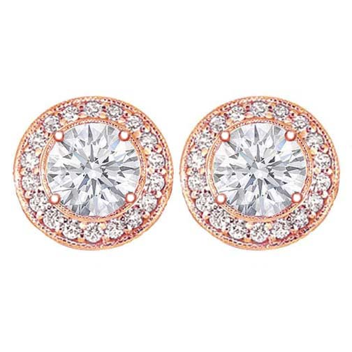 2 carats tcw. Pave Halo Round Diamond Stud Earrings in Rose Gold H SI2