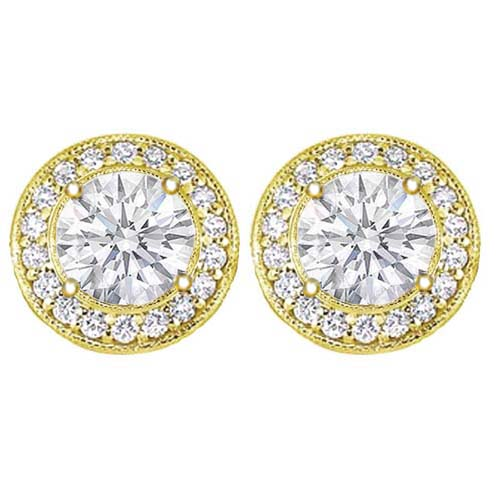 2 carats tcw. Pave Halo Round Diamond Stud Earrings in Yellow Gold H SI2