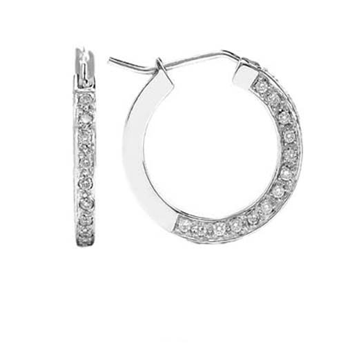 0.80 tcw. Pave Set Hoop Diamond Earrings in 14 Karat white gold, H SI