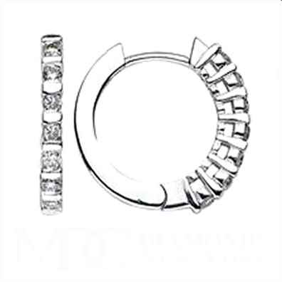 0.80 tcw. Hoop Diamond Earrings in 14 Karat white gold, H SI