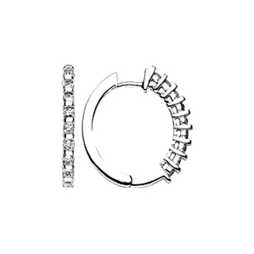 0.36 tcw. Hoop Diamond Earrings in 14 Karat white gold, H SI