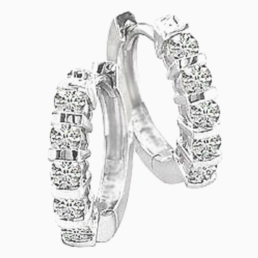 0.50 tcw. Bar Set Hoop Diamond Earrings in 14 Karat white gold, H SI