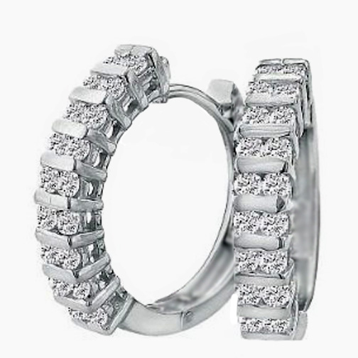 1.60 tcw. Hoop Diamond Earrings in 14 Karat white gold, H SI