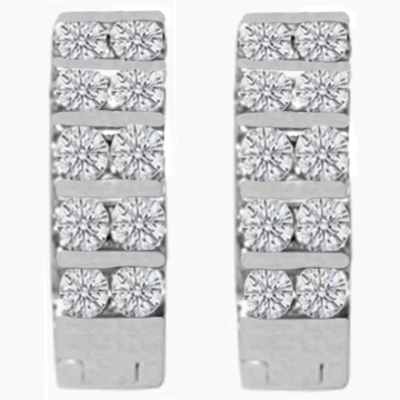 1.00 tcw. Hoop Diamond Earrings in 14 Karat white gold, H SI