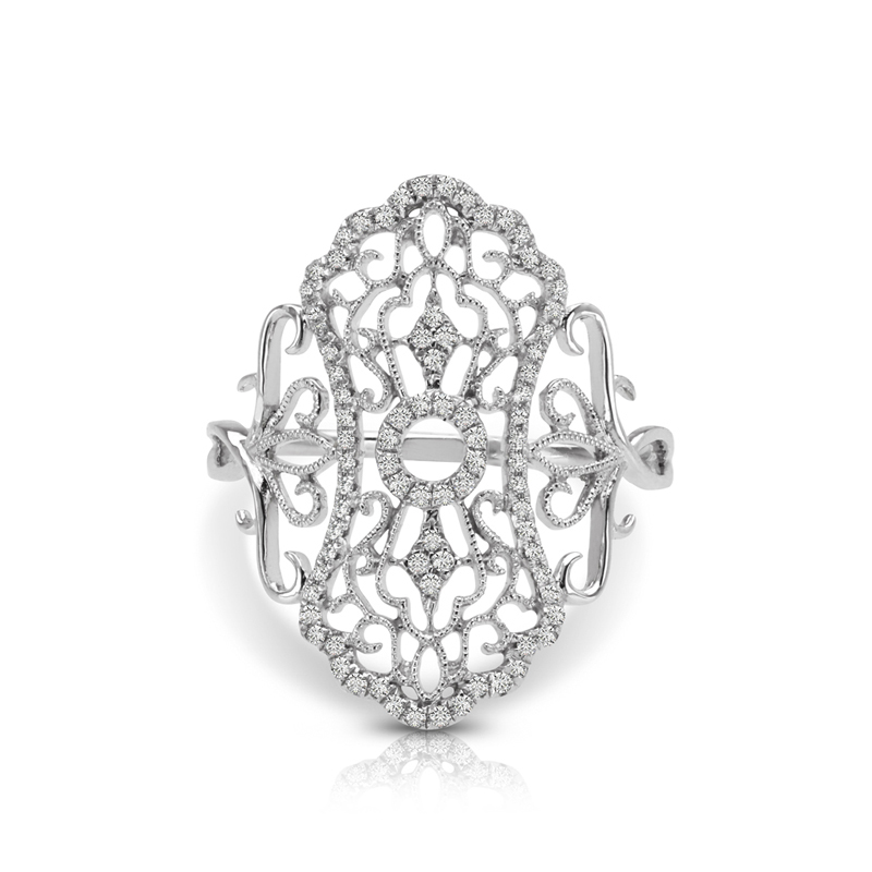 Elongated Art-Deco Filigree Fashion Ring