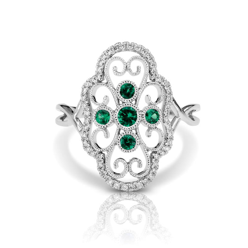 Large Art Deco Filigree Diamond & Emerald Split Band Fashion Ring