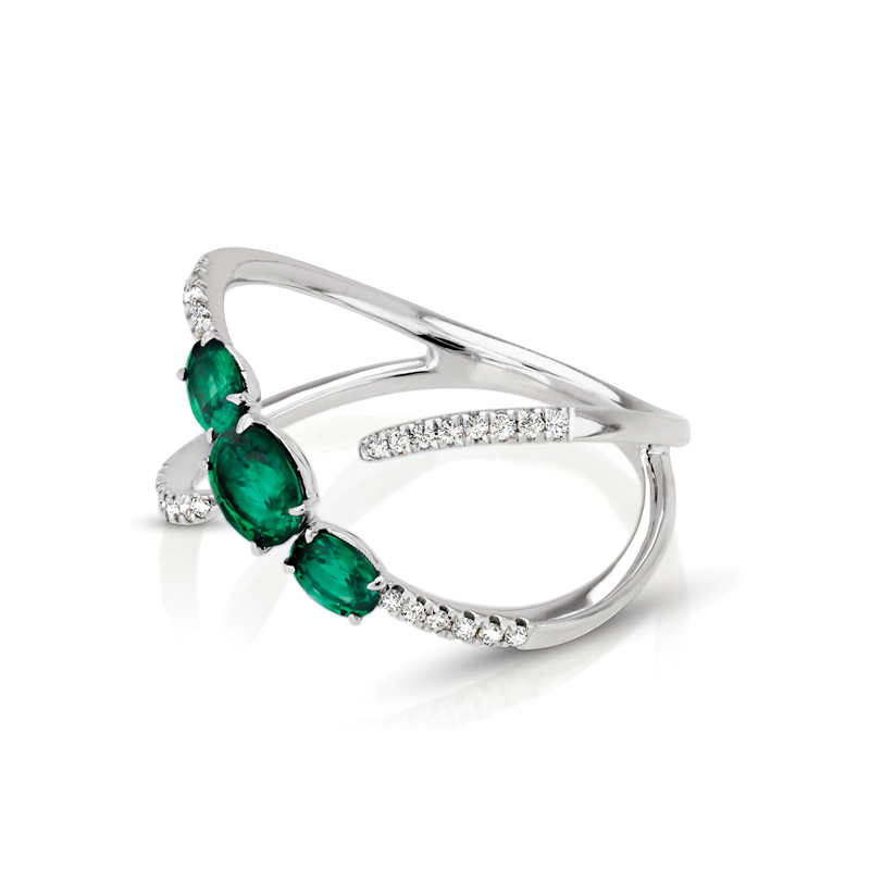 Three Stone Oval Emerald & Diamond Ring