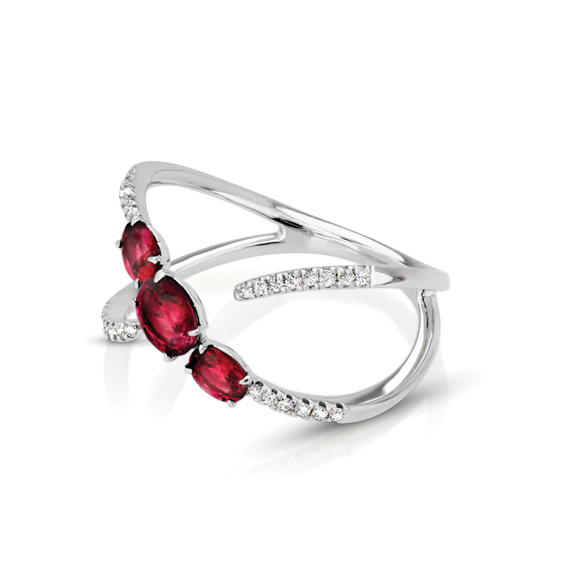 Three Stone Oval Ruby & Diamond Ring