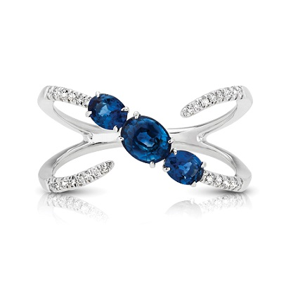 Three Stone Oval Sapphire & Diamond Ring