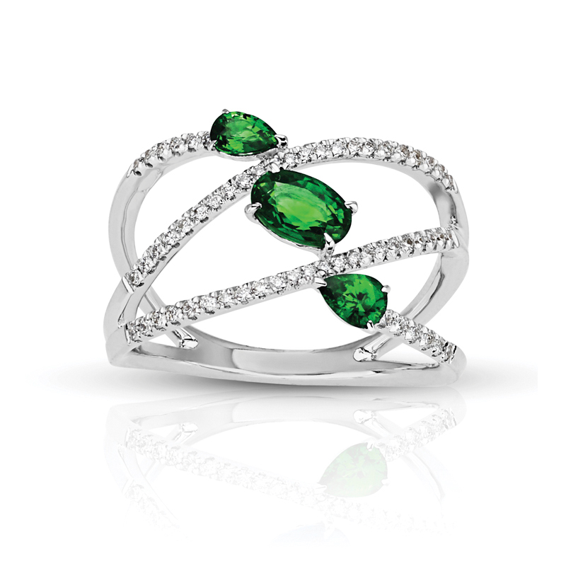 Three Stone Oval & Pear Emeralds in Split Diamond Band