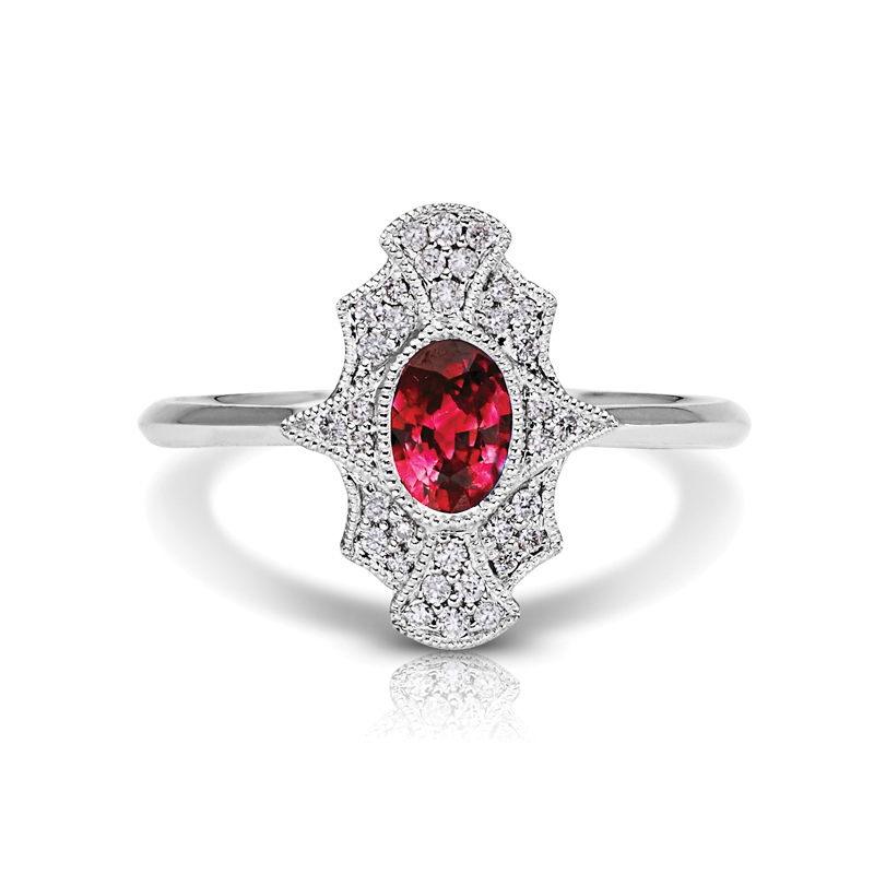 Oval Ruby Halo Diamond Petite Ring