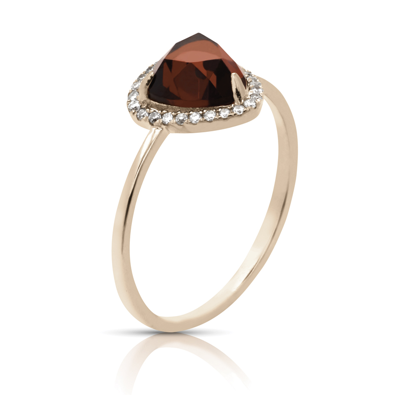 Garnet Trillion Halo Diamond Ring