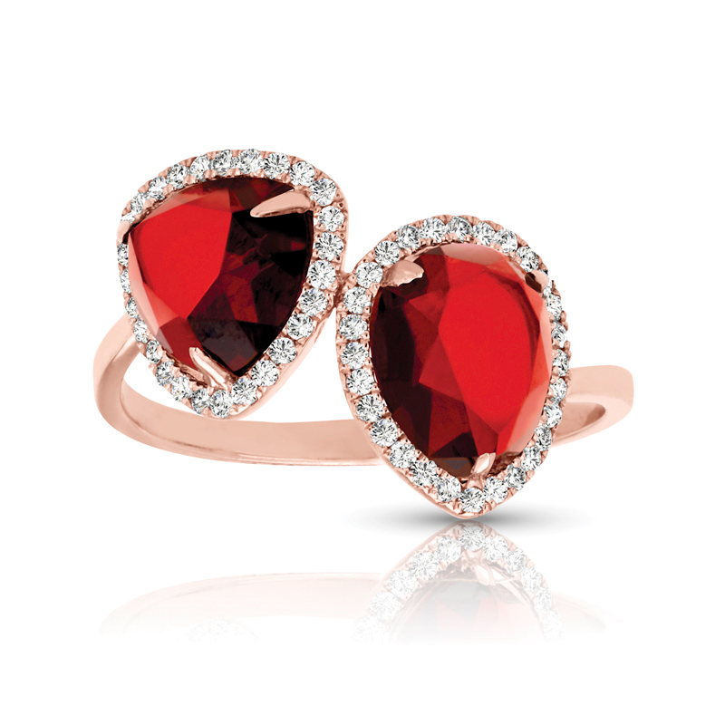 Duo Trillion & Pear Rubies,  Diamond Halo Ring