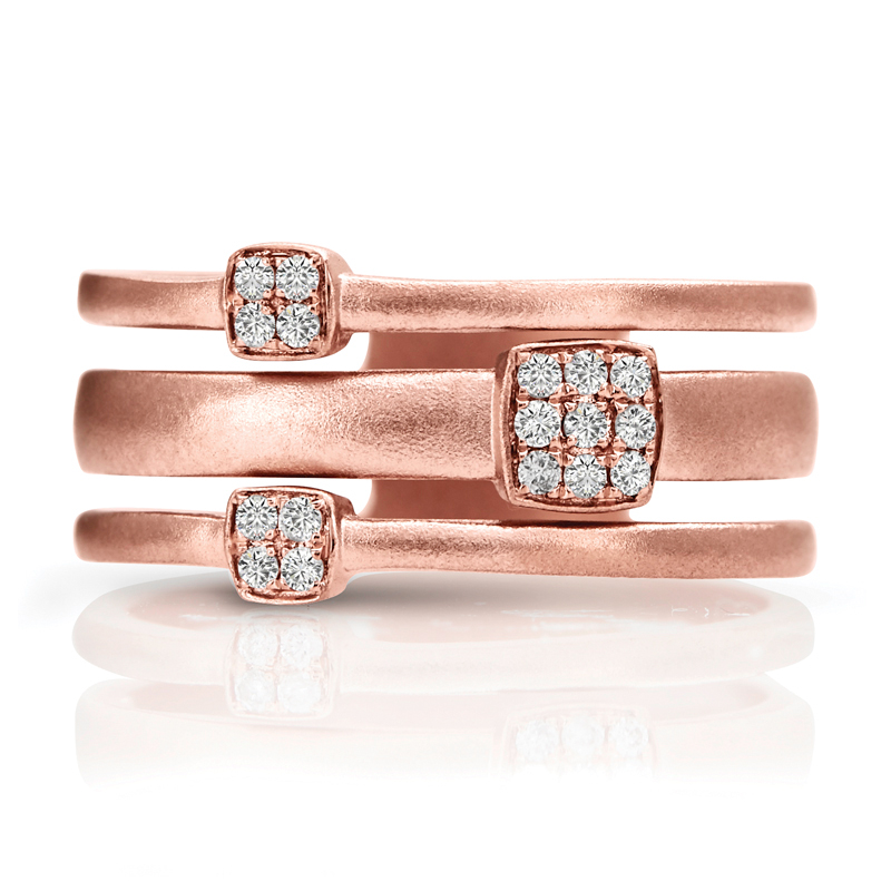 Three Ring Wide Band in Matte Rose Gold