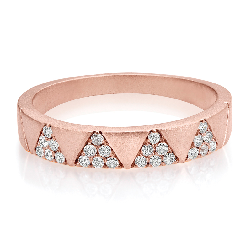 Chevron Pave Diamond Flat Band