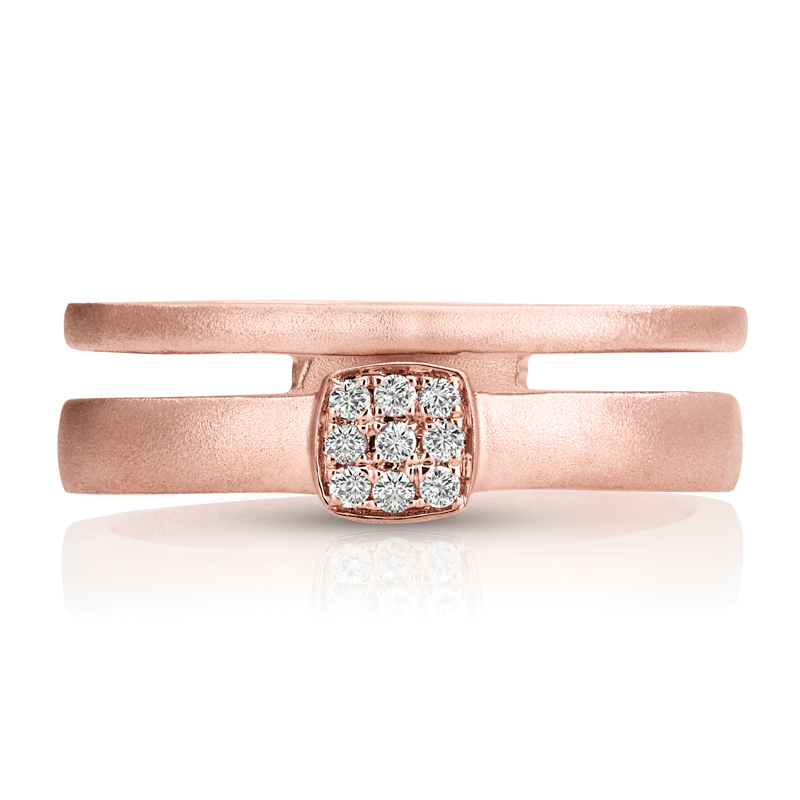 Double Ring Wide Band in Matte Rose Gold