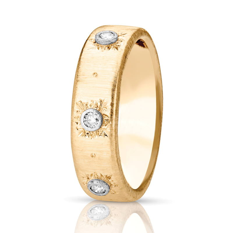 Three Stone Flat Band Wide Diamond Ring in Gold