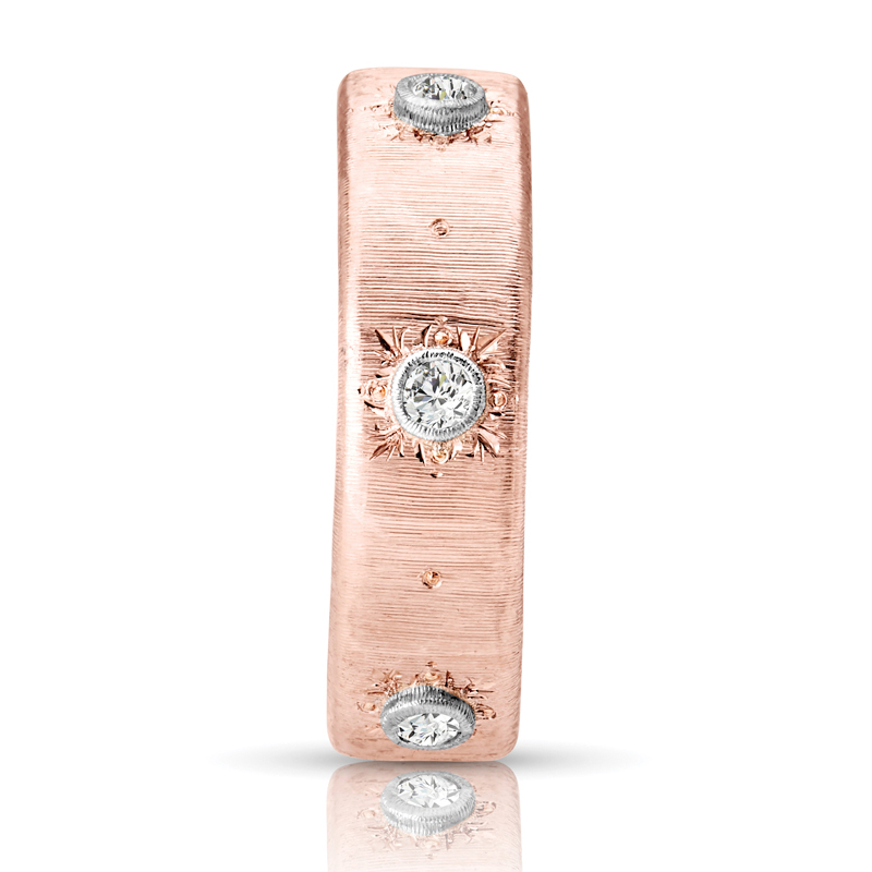 Three Stone Flat Band Wide Diamond Ring in Rose Gold