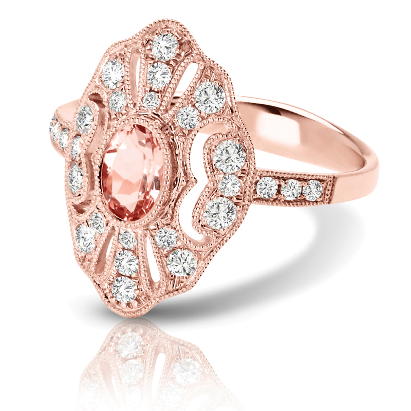Vintage Oval Morganite & Diamond  Ring